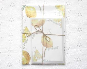 Letter writing set with fresh lemons