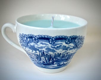 Great Lakes Vintage Teacup Soy-Coconut Candle: Fragrance Inspired by Lake Michigan Beaches, Staffordshire China Made in England