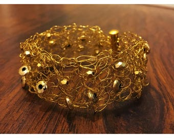 Gold color crochet wire bracelet with gold color beads - Available in 3 sizes - Bridesmaid gifts/Unique gifts/Great gifts/Gifts for her
