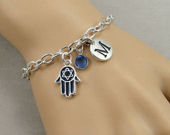 Star of David Hamsa Charm Bracelet, Hand of Fatima Bracelet, Initial and Birthstone Bracelet, Silver Plated Link Charm Bracelet