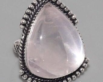 Silver and rose quartz size 59
