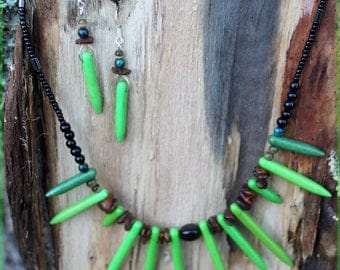 """Tribe"" Green""set necklace and earrings"