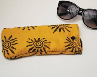 Sunny Hand Printed Material Sunglass Pouch