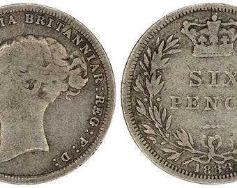 1883 Victoria silver sixpence coin of Great Britain