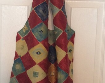 Handmade diamond patterned maroon/blue/yellow fabric Grocery bag, produce bag, reusable bag, eco friendly