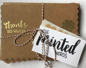 Rustic brown and gold embossed thank you cards - Set of 12