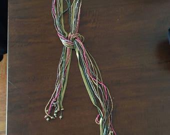 Beautiful colored metal and bead lariat
