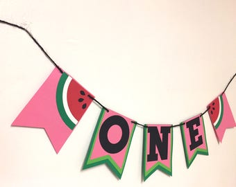 One In A Melon Watermelon Highchair Banner