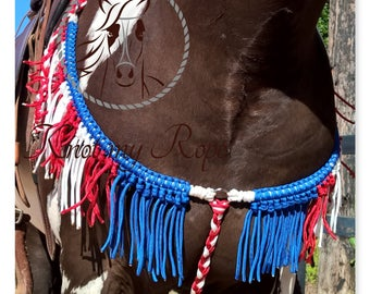 patriotic breast collar with fringes, patriotic tack, western tack, show tack, drill team tack, breast collar red, blue, white