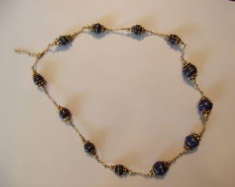 Custom made Lapis Lazuli and Gold Necklace