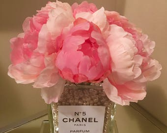 Chanel inspired vase with pink peonies and pearls