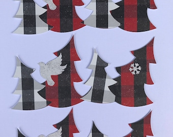 3 Christmas/Winter Trees Die Cuts White Black Red Plaid Bird Snowflake 2 Layers, Embellishments, Scrapbooking, Card Making, Home Party Decor