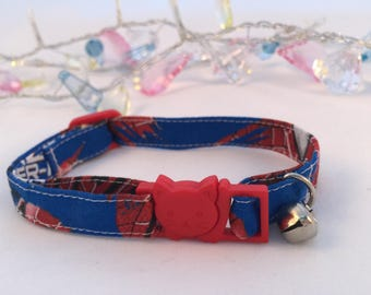Handmade | Superhero Boy Collar | Spiderman Collar | Cat Collar |  Kitten Collar | Adjustable Cat Collar | Breakaway Collar | Safety Collar