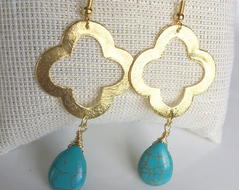 Quatrefoil earrings with Turquoise