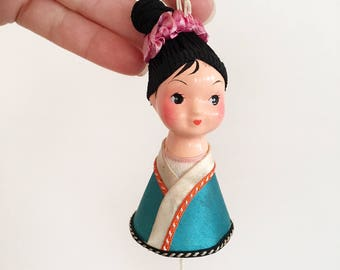 Hand Painted Vintage Asian Doll ornament - oriental China Japan chinese japanese doll - composition tassel decoration 1960s kokeshi #0550