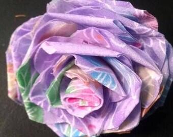 Fabric Rose Barrette Purple Butterflies