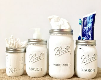 Rustic Mason Jar Bathroom Set White, Mason Jar Bathroom Storage, Shabby  Chic Bathroom Accessories