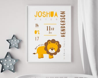 Personalised Baby Birth Print - Nursery / newborn gift - With or without frame - Lion