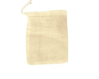 "30 pcs 4""x6"" Unbleached Natural Cotton Muslin Drawstring Bags, 100% Cotton Woven Bags,Safe,Non-Toxic - 10x15 cm Muslin Bags"
