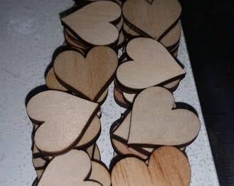 Laser cut Wooden plywood 20 mm Hearts x50
