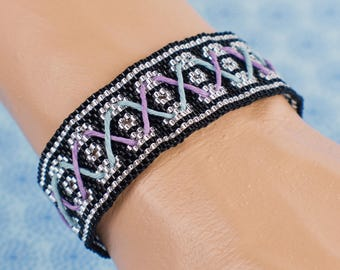 Blue and Purple Laced Black and Silver Cuff Bracelet
