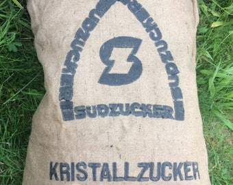 Grain bag jute bag true vintage pillow crystal sugar Germany South sugar heritage