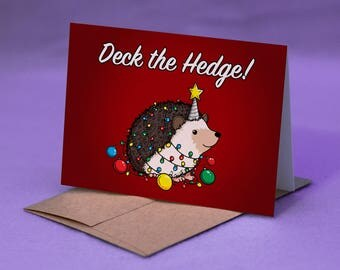 Hedgehog Christmas Card - Hedgehog Merry Christmas Card - DECK THE HEDGE! - Hedgehog Happy Holidays Card