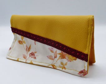 Protects checkbook floral English garden yellow Burgundy brick orange cotton and faux leather