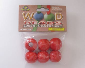 Pepperell Round Wood Beads 25mm 6 Pack Red
