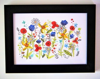 Flower Party - 5x7 Giclee Print of Watercolor Art