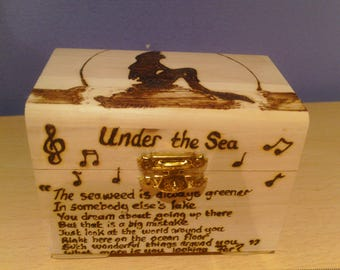 Mermaid stylised wooden treasure chest gift jewellery box - can be personalised on request.