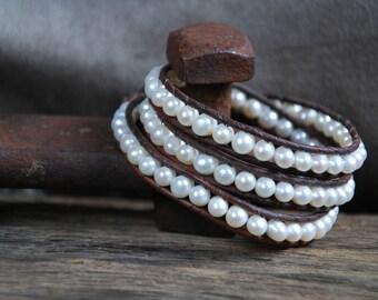 Triple Wrap Pearl Bracelet
