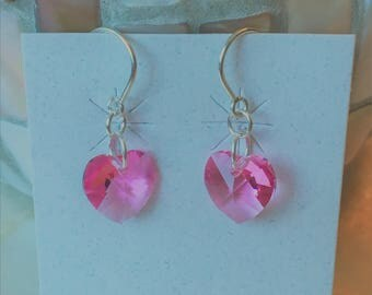 Pink Crystal Heart Earrings, Swarovski Pink Crystal Earrings, Valentine Earrings, Pink Crystal and Sterling Silver Earrings and Card Set