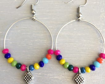 Earrings hoops with multicolored beads
