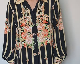 Shirt / striped / flowers / oversized / 90's