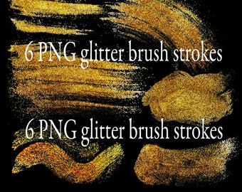 Glitter brush strokes/clip art PNG/transparent background/gold confetti/hand painted/bling metallic/textured digital paper/cards/invitations