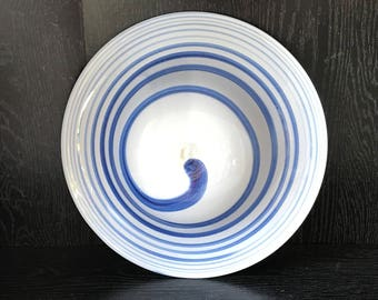 White Hand Blown Fused Bowl or Wall Art with Cobalt Spun Swirl