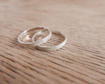 Zilver Textuur Ring - Zilveren Ring met Textuur - Eenvourige Zilver Ring met Textuur - Zilver Handgemaakt Ring met Textuur - Stapelring met