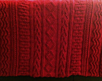 hand knit, afghan, lap blanket, throw, textured, pattern, detail