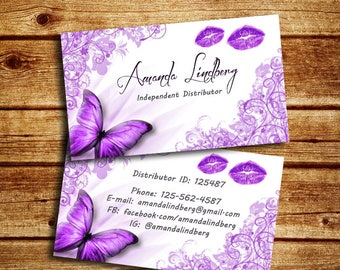 Floral Lip Business Card, Double sided Lip Business Card, Marketing Card