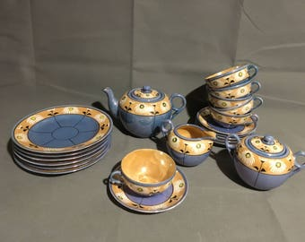 Vintage Lusterware Japanese Blue and Yellow w/ White Floral Porcelain Tea Set Hand Painted Tea Cups Saucers Tea Pot Plates Cream and Sugar