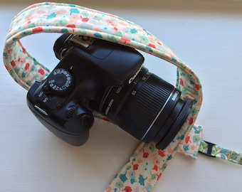 """Ready to Ship Padded Floral Camera Strap for DSLR Digital Canon Rebel Cotton 1.5"""" Slim Profile Adjustable Replacement  #207"""