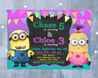 Minions Sibling Invitation, Minions Joint Birthday, Despicable Me Party, Minions Dual Invite with Free Thank You Card, Personalized JPEG