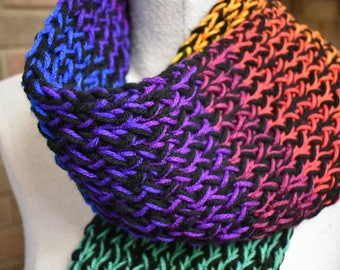 """Multi-color 'Rainbow' Hand Knit Serenity Scarf -60"""" Long"""