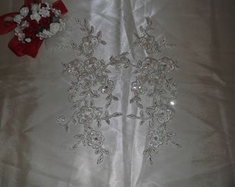Ivory Silver/Rhinestone Beaded Flower Applique