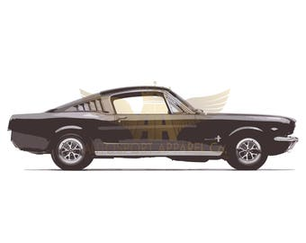 1965 Ford Mustang fastback - Digitally Hand Drawn, Signed, Limited Edition (200) A3 Prints