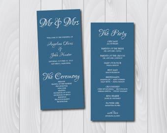 Blue Wedding Program, Wedding Program Printable, Wedding Programs Download, Wedding Ceremony Program, Printable Programs, Wedding Program