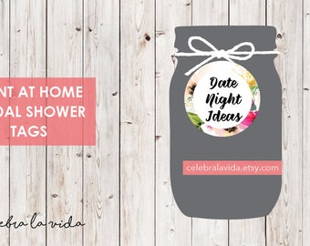 Date Night Ideas. Bridal Shower Tags. Instant Download. Printable Bridal Shower Game. Pink Flowers. Pink - 01