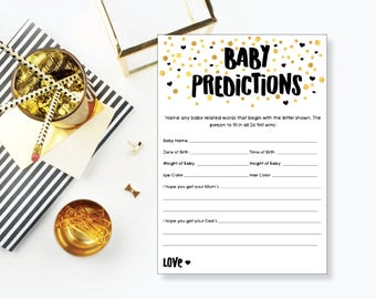 Baby Predictions. Baby Shower Game. Instant Download. Printable Baby Shower Gender Neutral Game. Gold and Black.