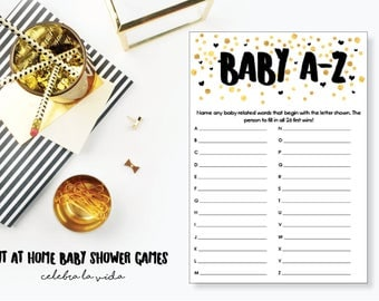 Baby A-Z. Baby Shower Game. Instant Download. Printable Baby Shower Gender Neutral Game. Gold and Black.